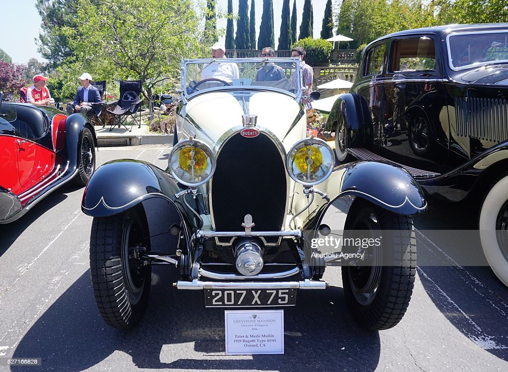 Bugatti Type 43-44 is on display during Concours d'Elegance at Greystone Mansion in Beverly Hills, Los Angeles, USA, on May 2, 2016. 140 classic automobiles from 18 different categories are displayed during the Concours d'Elegance classic automobile show.
