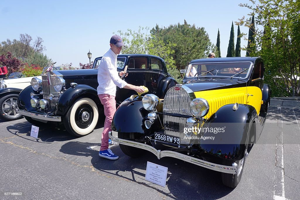Bugatti Type 57 is on display during Concours d'Elegance at Greystone Mansion in Beverly Hills, Los Angeles, USA, on May 2, 2016. 140 classic automobiles from 18 different categories are displayed during the Concours d'Elegance classic automobile show.