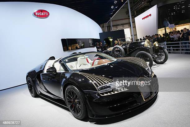 Bugatti vehicle is displayed during the 2014 Beijing International Automotive Exhibition at China International Exhibition Center on April 21 2014 in...