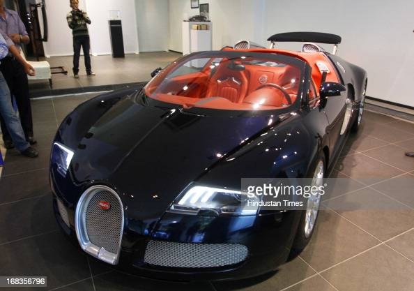 Bugatti Veyron 164 Grand sports car during its India launch on October 28 2010 in New Delhi India The Bugatti Veyron debuts in India with its 164...