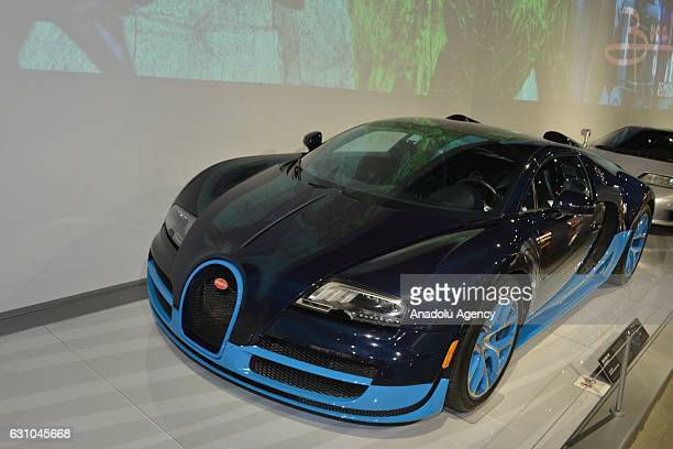 A 2012 Bugatti Veyron Grand Sport Vitesse is shown at the Petersen Automotive Museum in Los Angeles CA on December 5 2017The car named after Pierre...