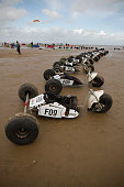Buggies parked on the sand in preparation for taking part in the European Kite Buggy Championships at Hoylake Wirral north west England Around 75...