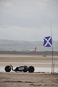 A buggy parked on the sand in preparation for taking part in the European Kite Buggy Championships at Hoylake Wirral north west England Around 75...