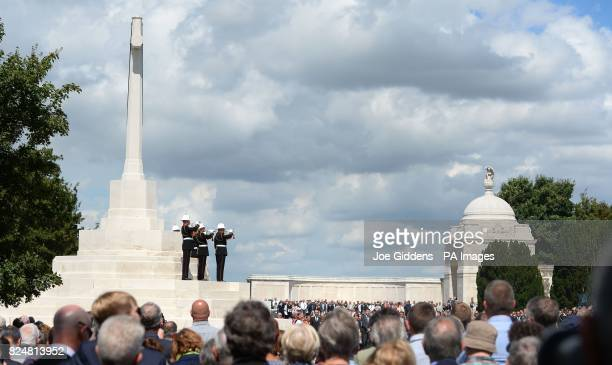 Buglers during commemorations at the Tyne Cot Commonwealth War Graves Cemetery in Ypres Belgium to mark the centenary of Passchendaele