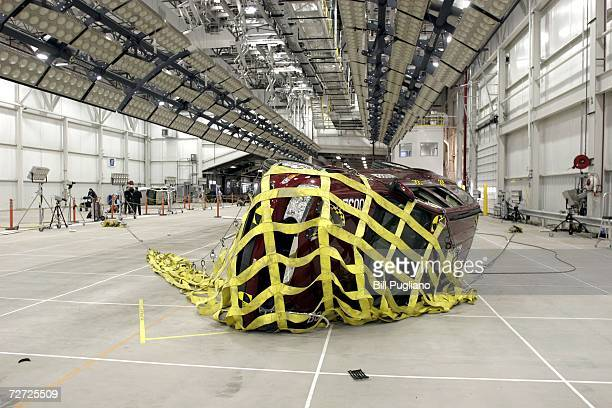 Buick Ranier lies on its side on the floor folowing a 44mph rollover crash test at General Motors' new $10 million crash testing center December 5...
