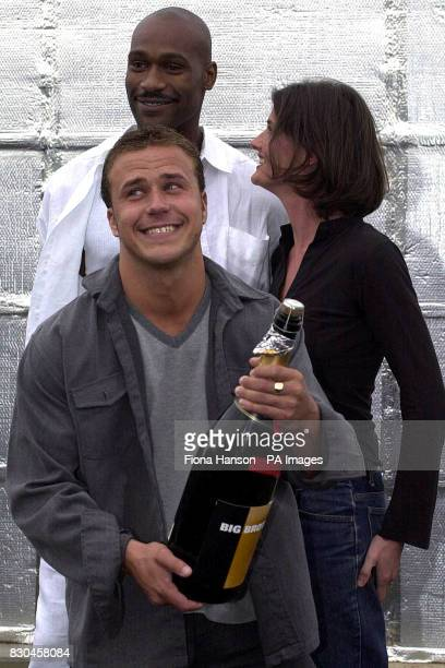 Builder Craig Philips from Liverpool the 70000 winner of Channel 4's 'reality television' programme Big Brother celebrates outside the Big Brother...