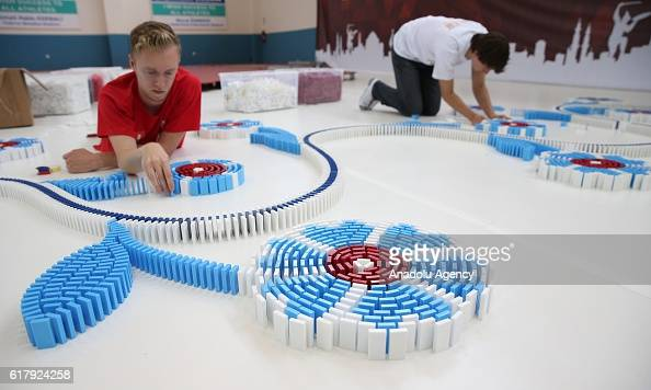 Builders set up the dominoes in Bursa province of Turkey on October 25 2016 to topple them on October 29 on the occasion of 'Republic Day of Turkey'...