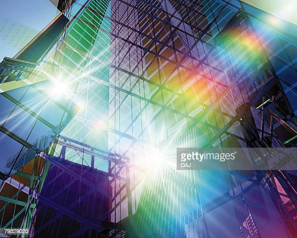 Building and Lights, CG, 3D, Low Angle View, Lens Flare