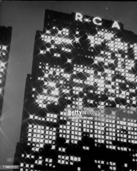 RCA building at night diffraction New York New York 1940