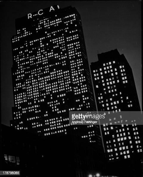 RCA building at night New York New York 1940