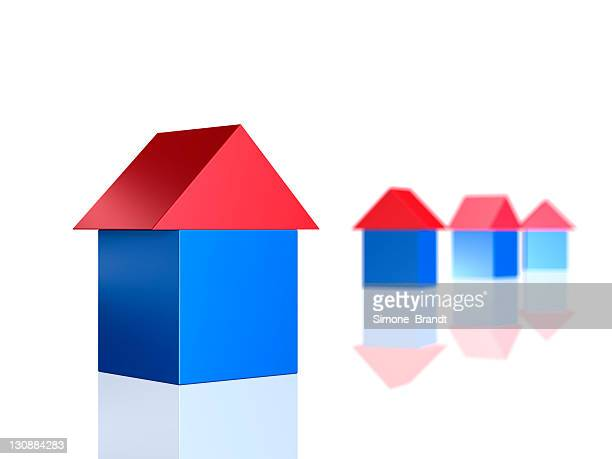 Building blocks, four blue houses with red roofs, 3-D cutout