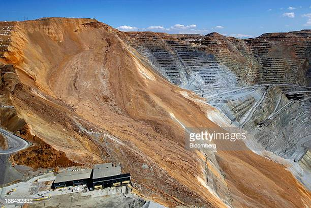 A building damaged from the Bingham Canyon copper mine wall slide stands in this aerial photograph taken in Bingham Utah US on Friday April 12 2013...
