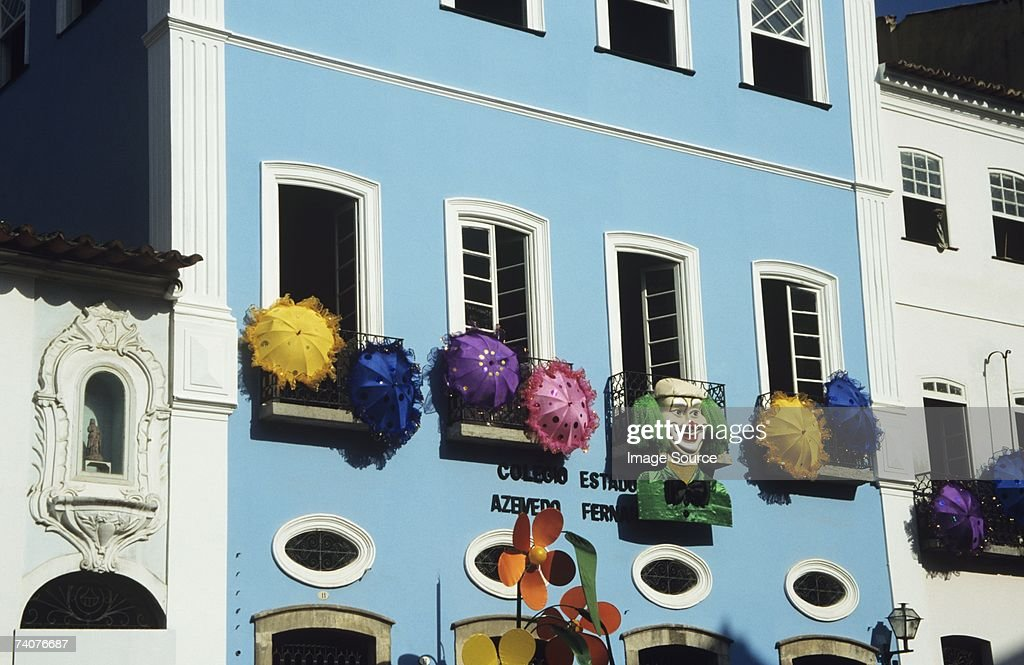 Building decorated for carnival : Stock Photo