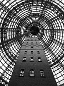 Glass dome covering the heritage factory tower building in downtown Melbourne, AU.