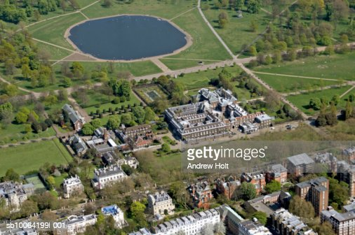 Building exterior and Kensington palace and garden, aerial view
