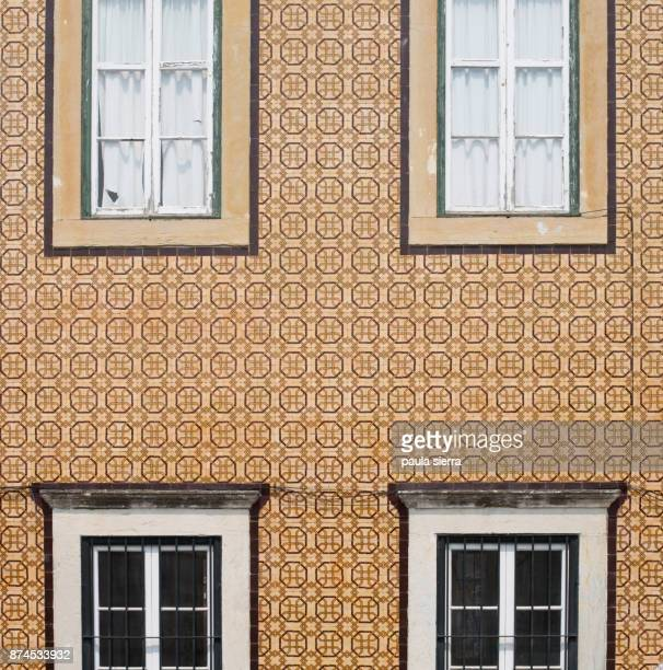 Building facade with ceramic tiles