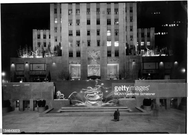 Building General axis view of fountain at night RCA Building