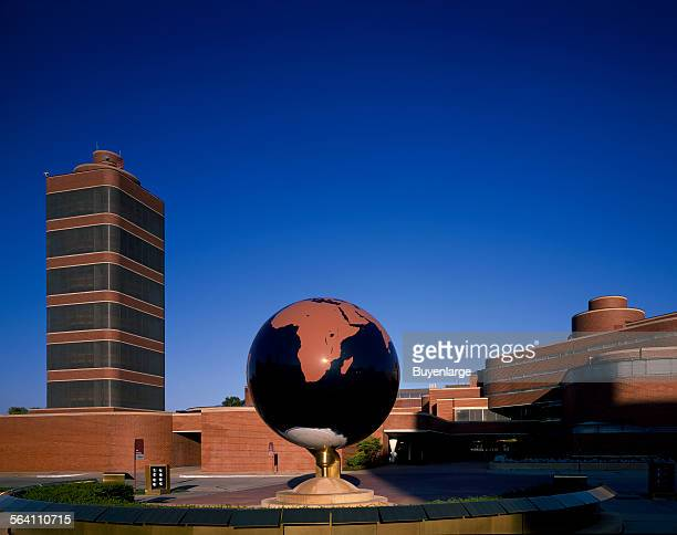 Building globe and grounds of the SC Johnson and Son headquarters building designed by Frank Lloyd Wright Racine Wisconsin