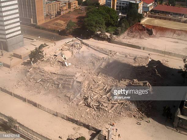 Bâtiment implosion dans le centre-ville de Johannesburg, Afrique du Sud