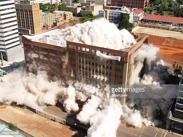 Building implosion in Johannesburg, South Africa