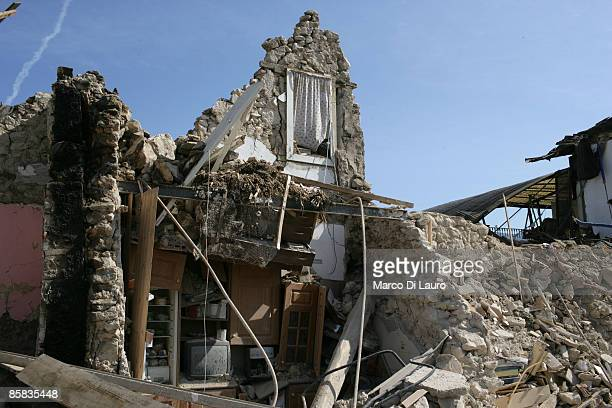 A building is left in ruins on April 7 2009 in Onna a village near L'Aquila Italy On April 6 2009 the 63 magnitude earthquake tore through central...