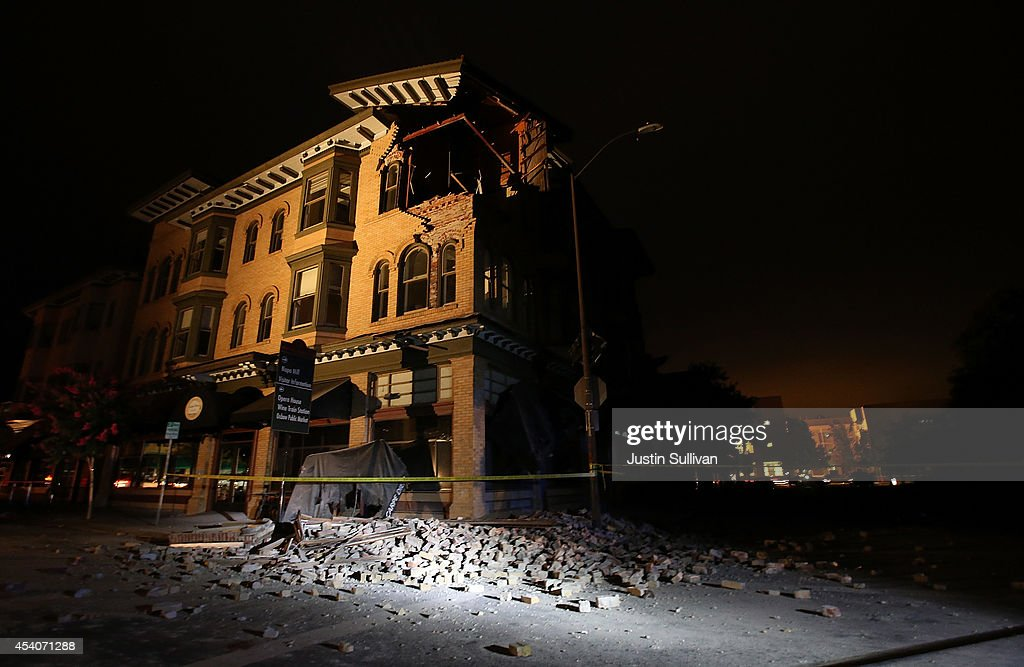 A building is seen destroyed following a reported 6.0 earthquake on August 24, 2014 in Napa, California. A 6.0 earthquake rocked the San Francisco Bay Area shortly after 3 am on Sunday morning.