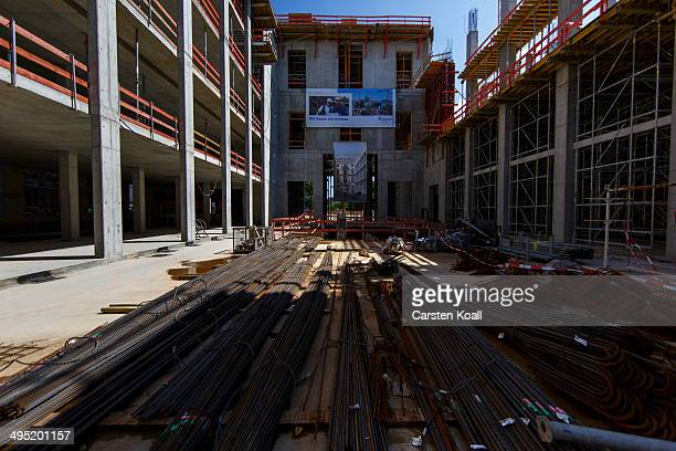 Building materials lie on the ground at the construction site of the Berlin City Palace in the city center which was open to visitors on June 1 2014...