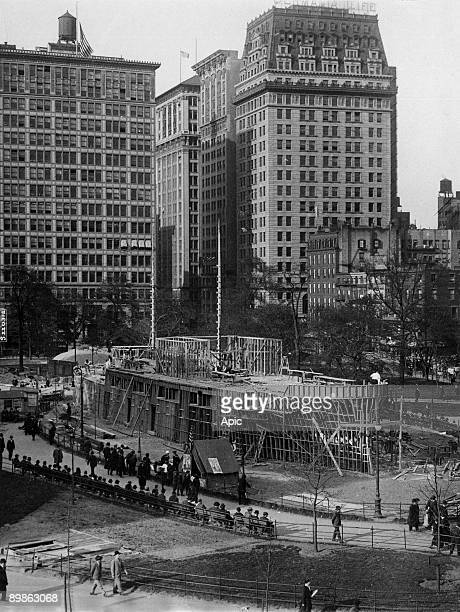 Building of a battle ship in Union Quare in New York may 18 1917 it should have moral effects on making men think more seriously of enlisting in some...