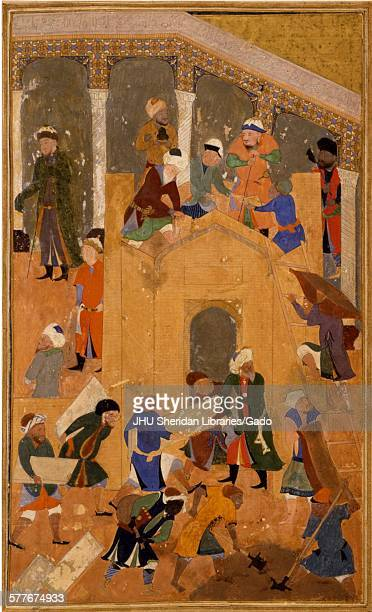 Building of the Great Mosque at Samakand from Zafarnama or Book of Victory the biography of Timur known to the English world as Tamerlane the text of...