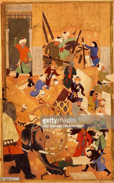 Building of the Great Mosque in Samarkand from Zafarnama or Book of Victory the biography of Timur known to the English world as Tamerlane the text...