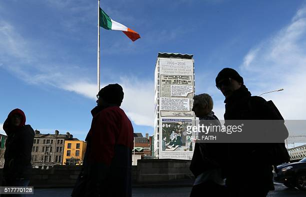 A building on Eden Quay in Dublin city centre in covered in posters to commemorate the 100th anniversary of the Easter Rising in Dublin on March 27...
