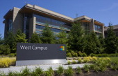 A building on the Microsoft Headquarters campus is pictured July 17 2014 in Redmond Washington Microsoft CEO Satya Nadella announced July 17 that...