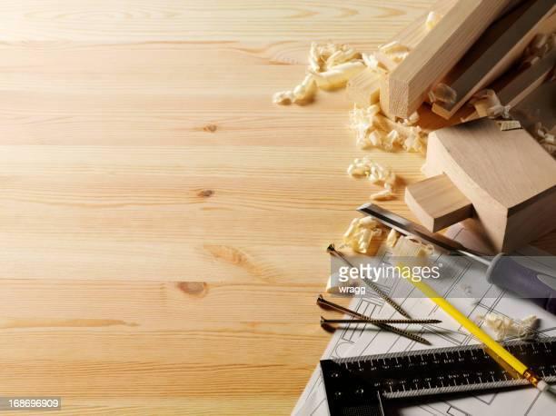 Construção de planos e de madeira