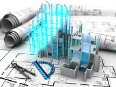 abstract 3d illustration of building construction computer model over blueprints