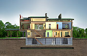 building section 3d rendering