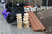 Building supplies on a construction site.