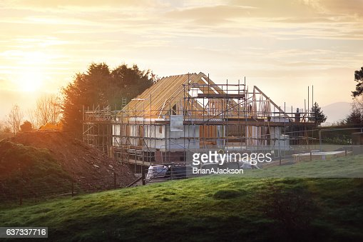Building site with house under construction : Stock Photo