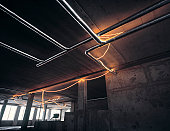 Building site with pipes and innovative lighting