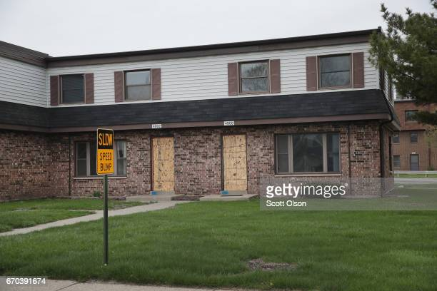 A building sits vacant in the West Calumet Housing Complex on April 19 2017 in East Chicago Indiana Nearly all the residents of the complex were...