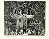 Vintage photograph of workers Building Station Tunnel at Clapham Common, London Underground, 1899