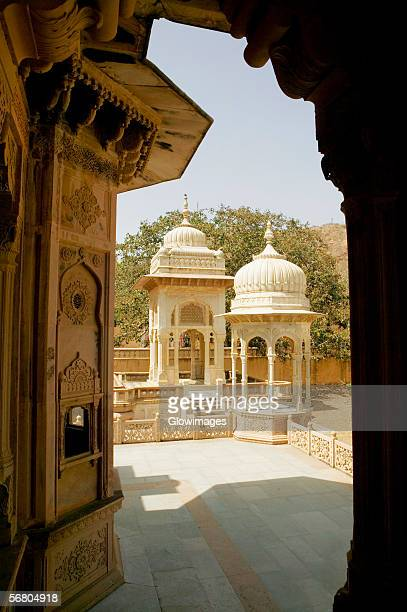 Building viewed from an arched doorway, Royal Gaitor, Jaipur, Rajasthan, India