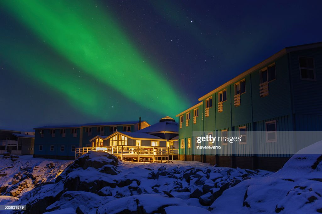 Building with Aurora, Greenland : Stock Photo