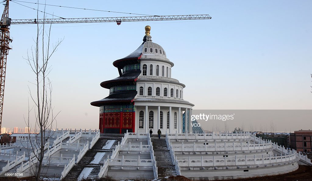 A building with half Chinese temple and half western architecture is under construction in a new studio park on December 3 2015 in Shijiazhuang Hebei...