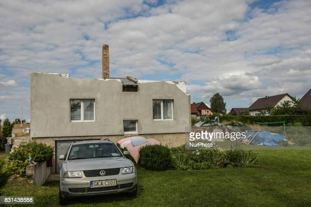 Building with ripped off roof is seen in the Nakla village northern Poland on 14 August 2017 Storms which on Friday 11th August night and Saturday...