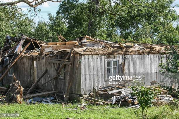 Building with ripped off roof is seen in the Sylczno village northern Poland on 14 August 2017 Storms which on Friday 11th August night and Saturday...