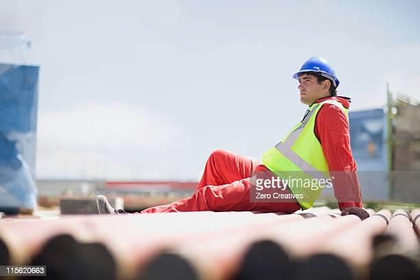 Costruzione lavoratore avere un riposo
