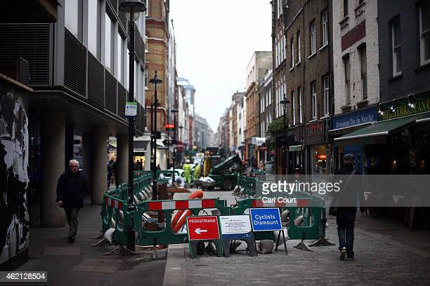 Building works are pictured on Berwick Street in Soho on January 21 2015 in London England A growing number of campaigners including Stephen Fry are...