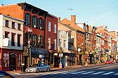 Buildings along a road, M street, Georgetown, Washington DC, USA