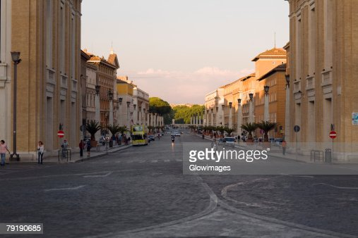 Buildings along a road, Rome, Italy : Stock Photo