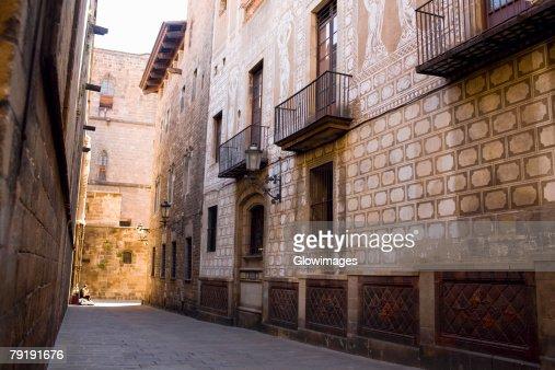 Buildings along a street, Barcelona, Spain : Foto de stock